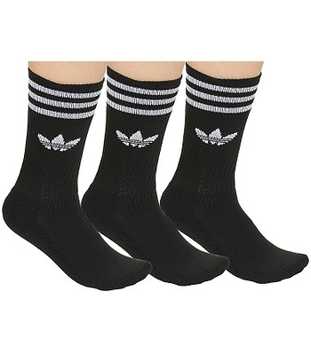 adidas Originals Solid Crew Sock 3 Pack Socks - Black White - snowboard- online.eu a788093ca
