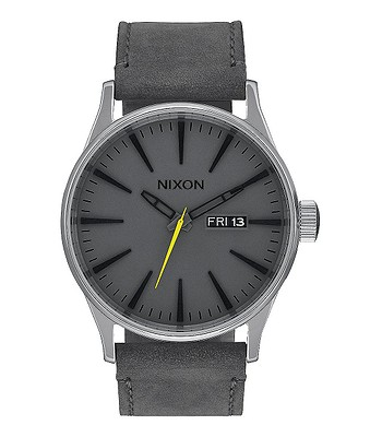 hodinky Nixon Sentry Leather - Charcoal  2e5d15db00
