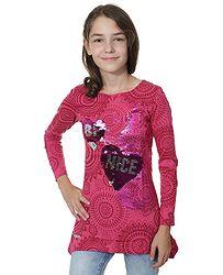 tričko Desigual 67T30F1 Quebec LS - 3022 Fuchsia Rose 3b5de1a6ef2