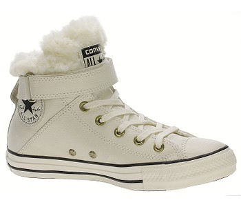 dámské. boty Converse Chuck Taylor All Star Brea Leather Hi -  553396 Parchment Black 977ae6b856