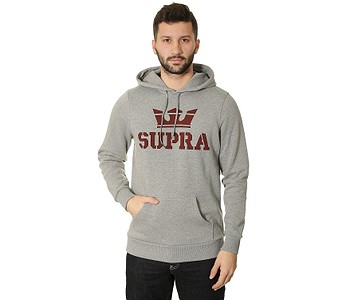 MIKINA SUPRA ABOVE PULLOVER - GRAY HEATHER RED - skate-online.sk b0064c60812