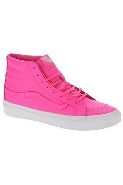 596ce396d5c boty Vans Sk8-Hi Slim - Neon Leather Neon Pink True White ...