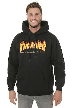 sweatshirt Thrasher Flame Logo - Black