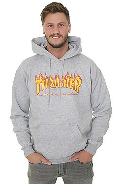 sweatshirt Thrasher Flame Logo - Gray