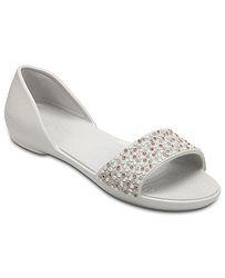 f947d41f1fe boty Crocs Lina Embellish Dorsay Flat - Pearl White Rose Gold