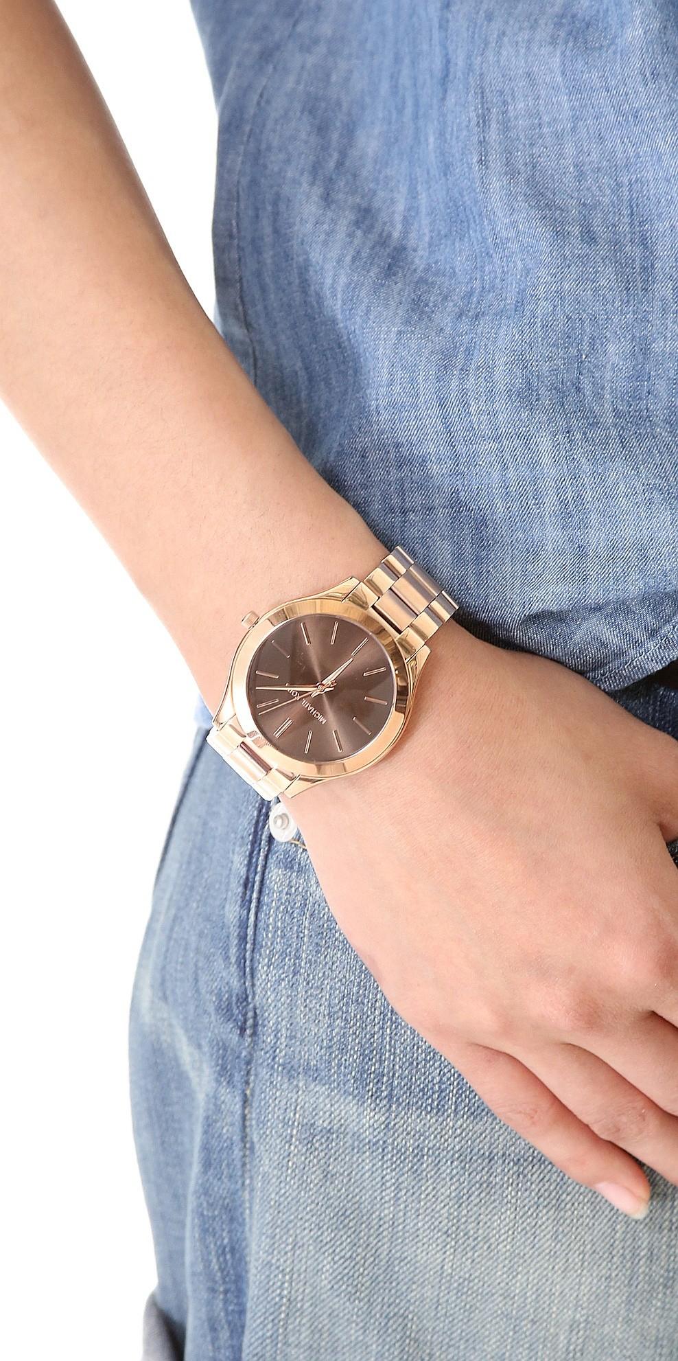 hodinky Michael Kors Slim Runway Rose Gold Tone Rose Gold