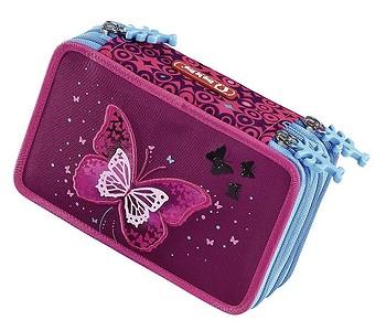 penál Hama - Step By Step 139200/Třpytivý Motýl - Violet/Blue