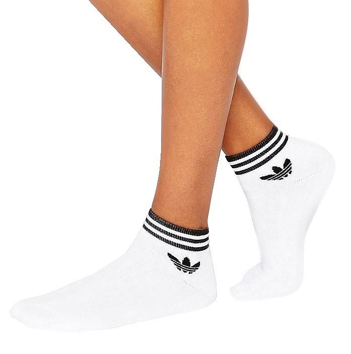 Socken adidas Originals Trefoil Ankle Stripes 3 Pack White
