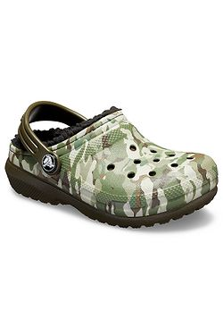 79ea381db85 boty Crocs Classic Fuzz Lined Graphic Clog - Dark Camo Green Black ...