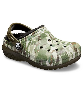 9aaaec27894 boty Crocs Classic Fuzz Lined Graphic Clog - Dark Camo Green Black ...