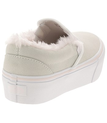 ee0a1b123ae shoes Vans Classic Slip-On Platform - Suede Fur True White Pink ...