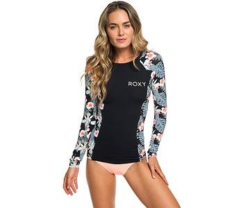 tričko Roxy Fashion Lycra LS - KVJ8/Anthracite Tropicalababa Swim