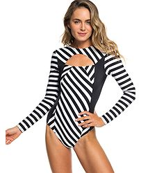 5a6b58b58a plavky Roxy Pop Surf Full Onesie LS - XKKW True Black Victoria Stripes Sw