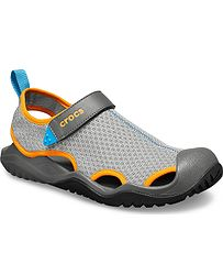 boty Crocs Swiftwater Mesh Deck Sandal - Light Gray Blazing Orange f39f35199f