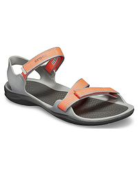 boty Crocs Swiftwater Webbing Sandal - Bright Coral Light Gray fa1d118a0f