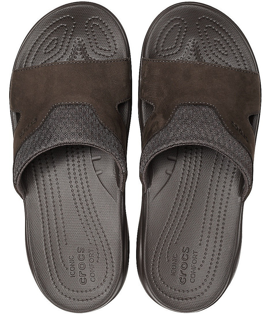 Crocs Swiftwater Leather Slide Espresso