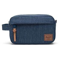 kozmetická taška Herschel Chapter Carry On - Indigo Denim Crosshatch/Saddle Brown