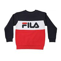 sweatshirt Fila Night Blocked Crew - Black Iris/True Red/Bright White - unisex junior