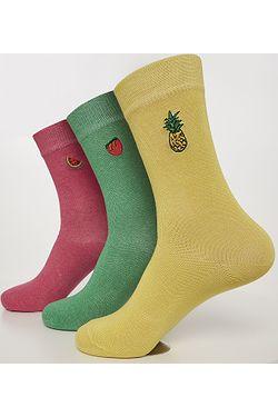 socks Urban Classics Fun Embroidery 3 Pack/TB3305 - Light Yellow/Green/Pink - women´s
