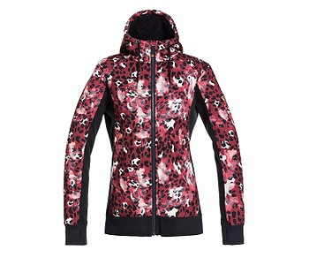 mikina Roxy Frost Printed Zip - RRE1/Oxblood Red Leopold