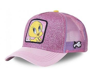 šiltovka Capslab Looney Tunes Trucker - Tweety/Glitters Pink