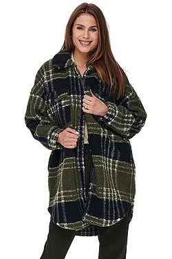 kabát ONLY New Camilla Teddy Shacket Aop CC Otw - Kalamata Check