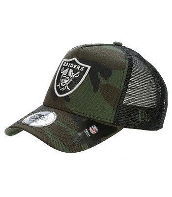 cap New Era 9FO Camo Team Aframe Trucker NFL Oakland Raiders - Woodland Camo