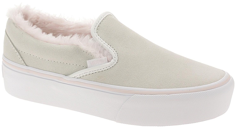 shoes Vans Classic Slip-On Platform - Suede/Fur/True White/Pink ...