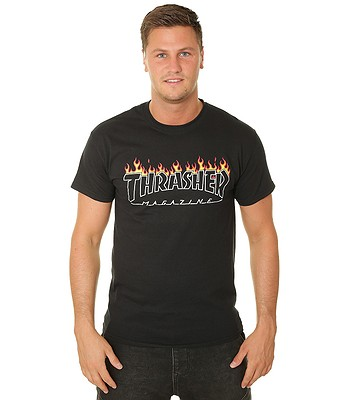 T-shirt Thrasher Scorched Outline - Black