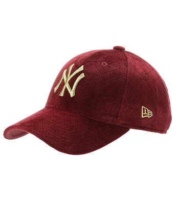 czapka z daszkiem New Era 9FO Quilted MLB New York Yankees - Cardinal Red/Metallic Gold