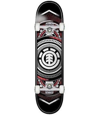 skateboard Element Hatched Red Silver Complete - Assorted