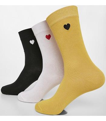 socks Urban Classics Heart 3 Pack/TB3307 - Black/White/Yellow - women´s
