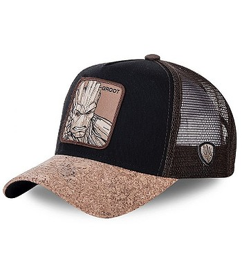 cap Capslab Marvel Trucker - Groot/Cork/Black/Brown - men´s