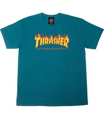 T-Shirt Thrasher Flame Logo - Galapagos Blue - men´s