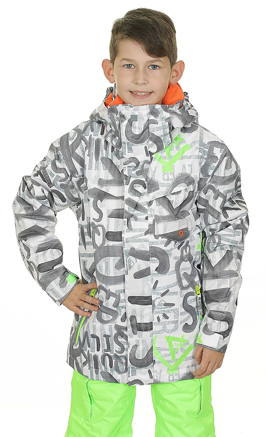 0085600b6 Quiksilver Mission Printed Youth Jacket - WBB2 The Line White ...