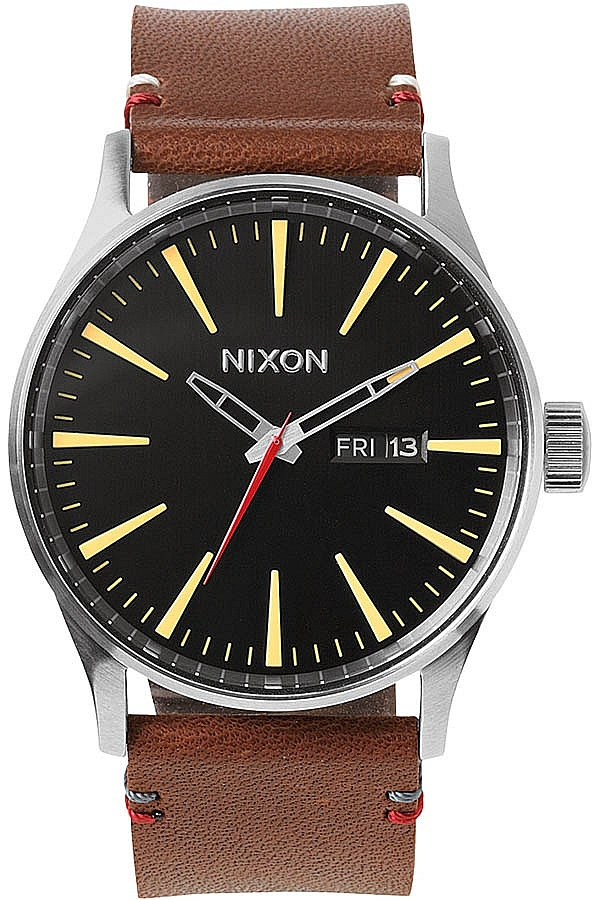 hodinky Nixon Sentry Leather - Black Brown one size 0b1356dd598