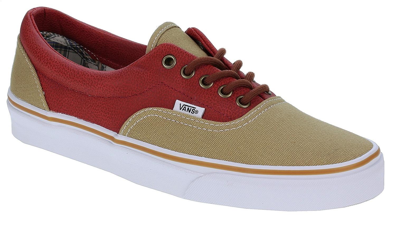 71187bcf12 Vans Era Shoes - Leather Quarter Khaki Red - Snowboard shop ...
