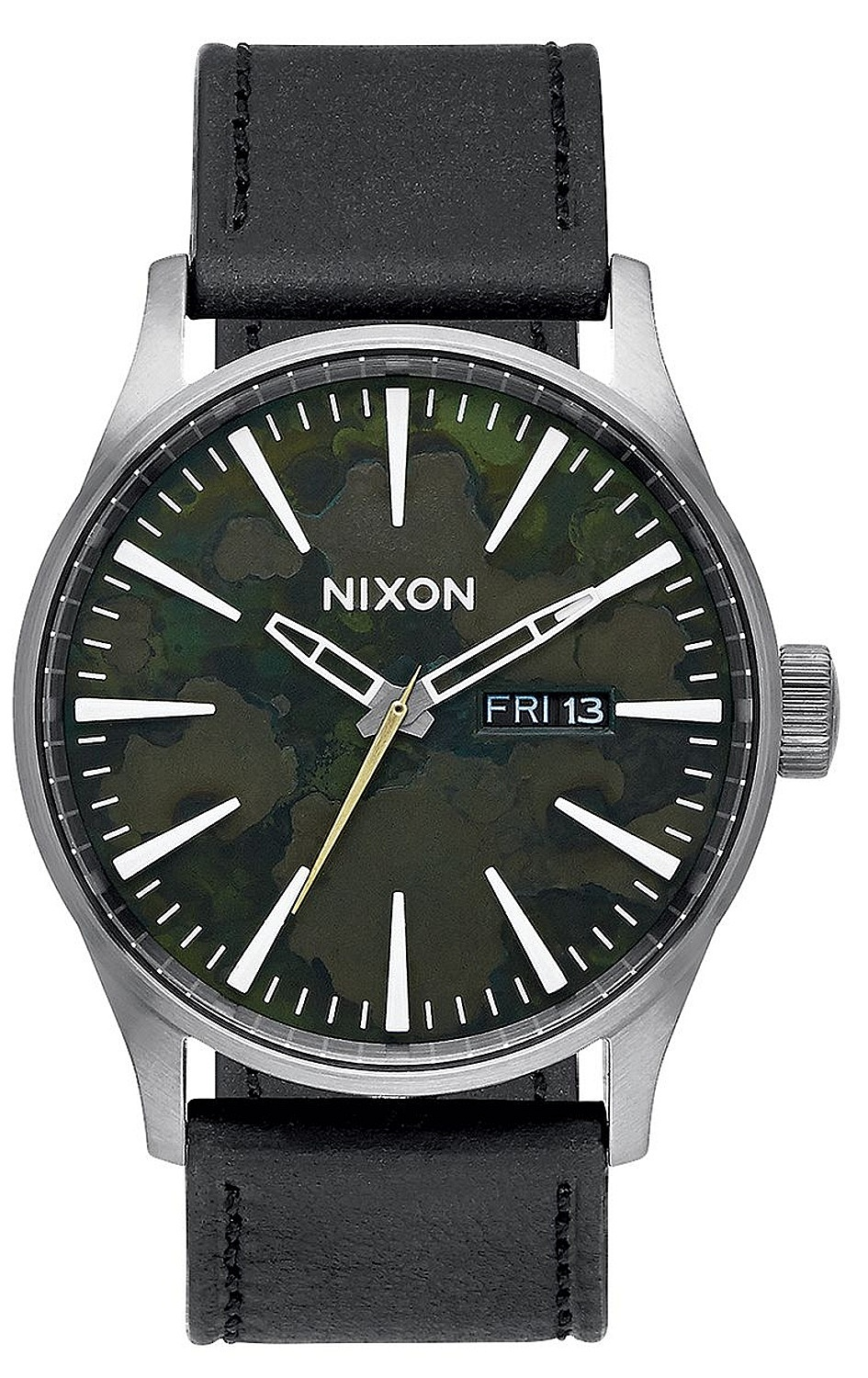 hodinky Nixon Sentry Leather - Gunmetal  Green Oxyde one size a240fc4d0f