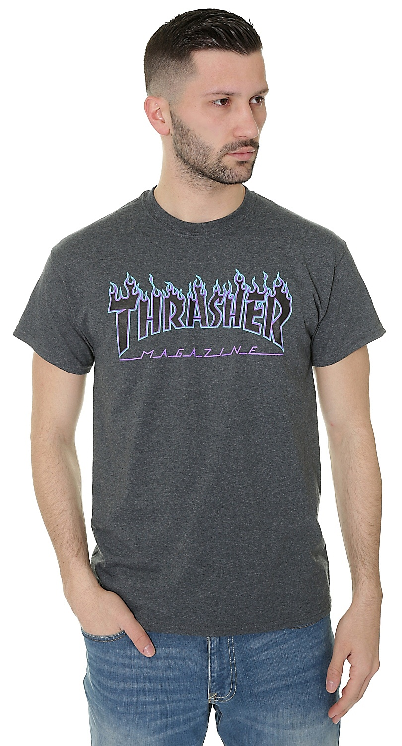 ad8cbcc6db96 T-shirt Thrasher Flame Logo - Dark Heather - Snowboard shop ...