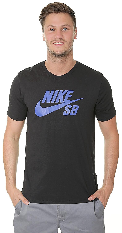 7aa8f92132b78b T-Shirt Nike SB Logo - 019 Black Hyper Royal - Snowboard shop ...