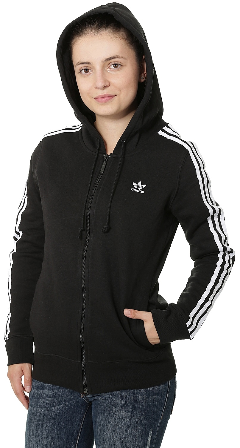 mikina adidas Originals 3 Stripes Zip - Black - Snowboard shop ... c429cb2ede4