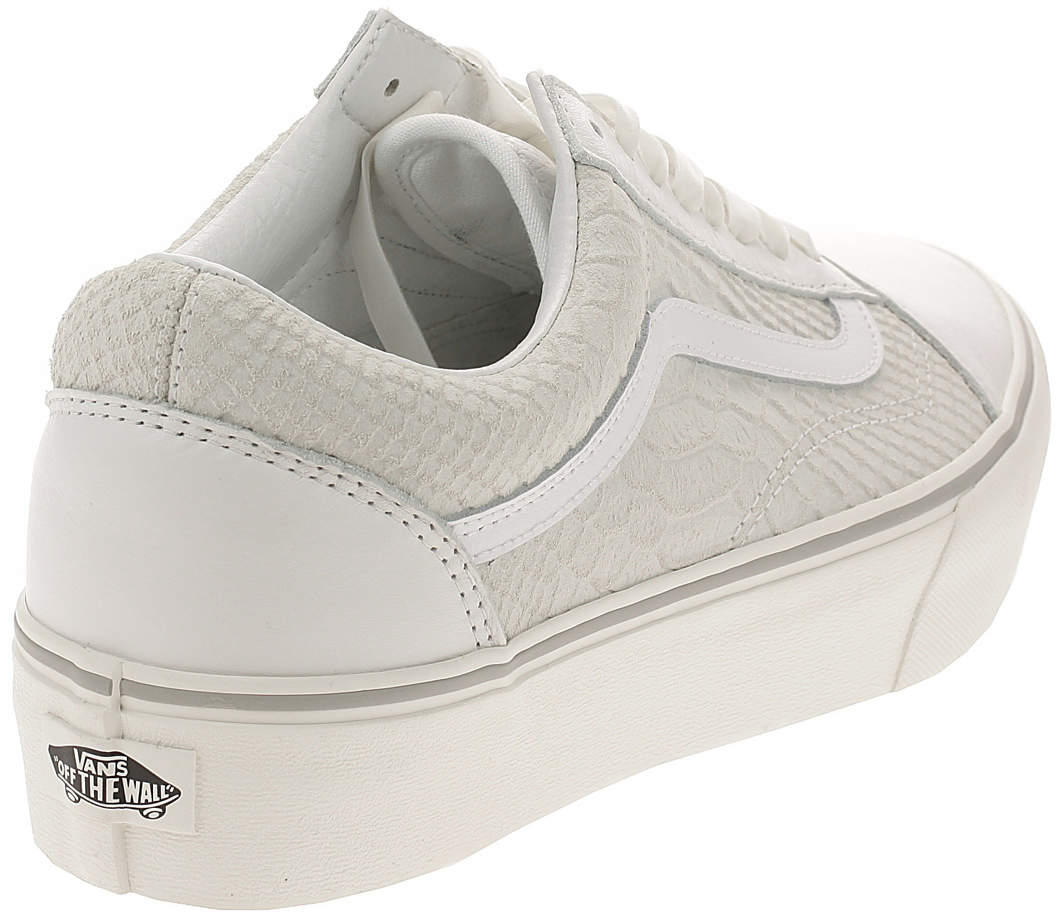 e82203a37f1 zapatos Vans Old Skool Platform - Leather Snake White - Snowboard ...