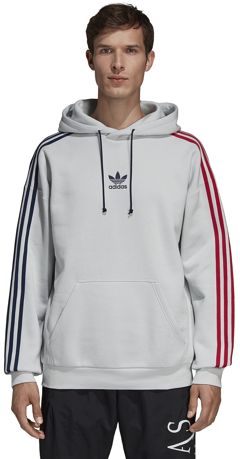 mikina adidas Originals 3 Stripes Hoody - Clear Gray ...