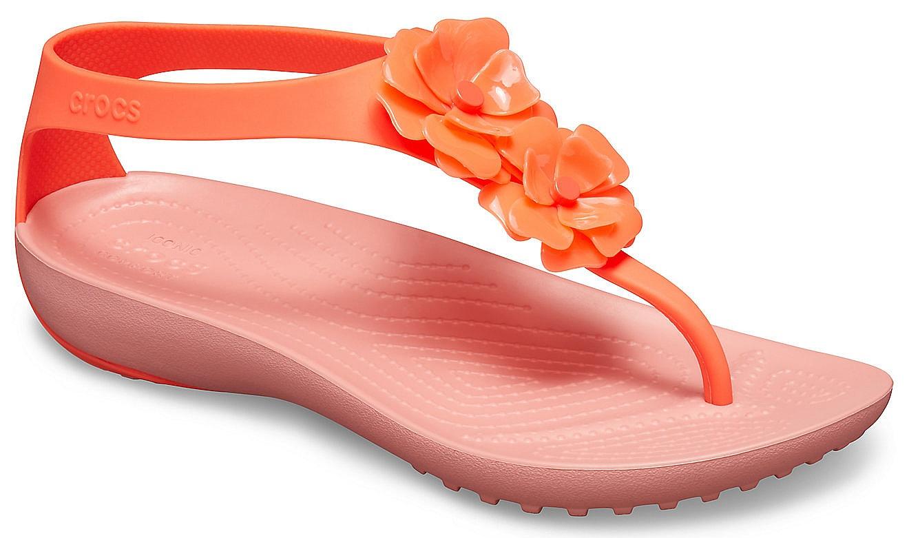 boty Crocs Serena Embellish Flip - Bright Coral/Melon 36/37