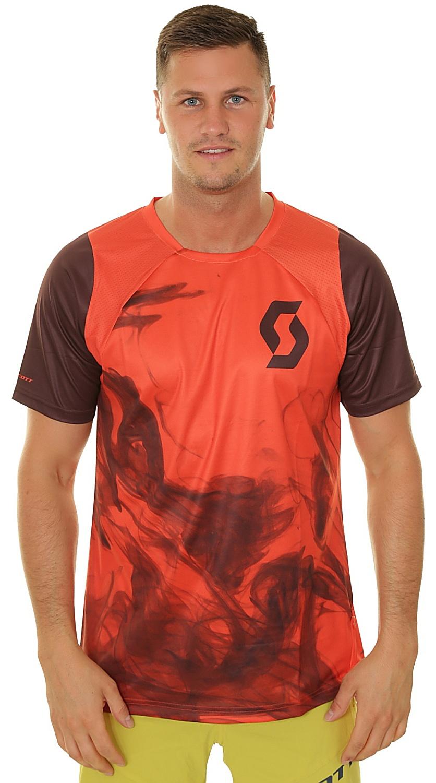 tričko Scott Trail Vertic - Orange Pumpkin/Maroon Red L
