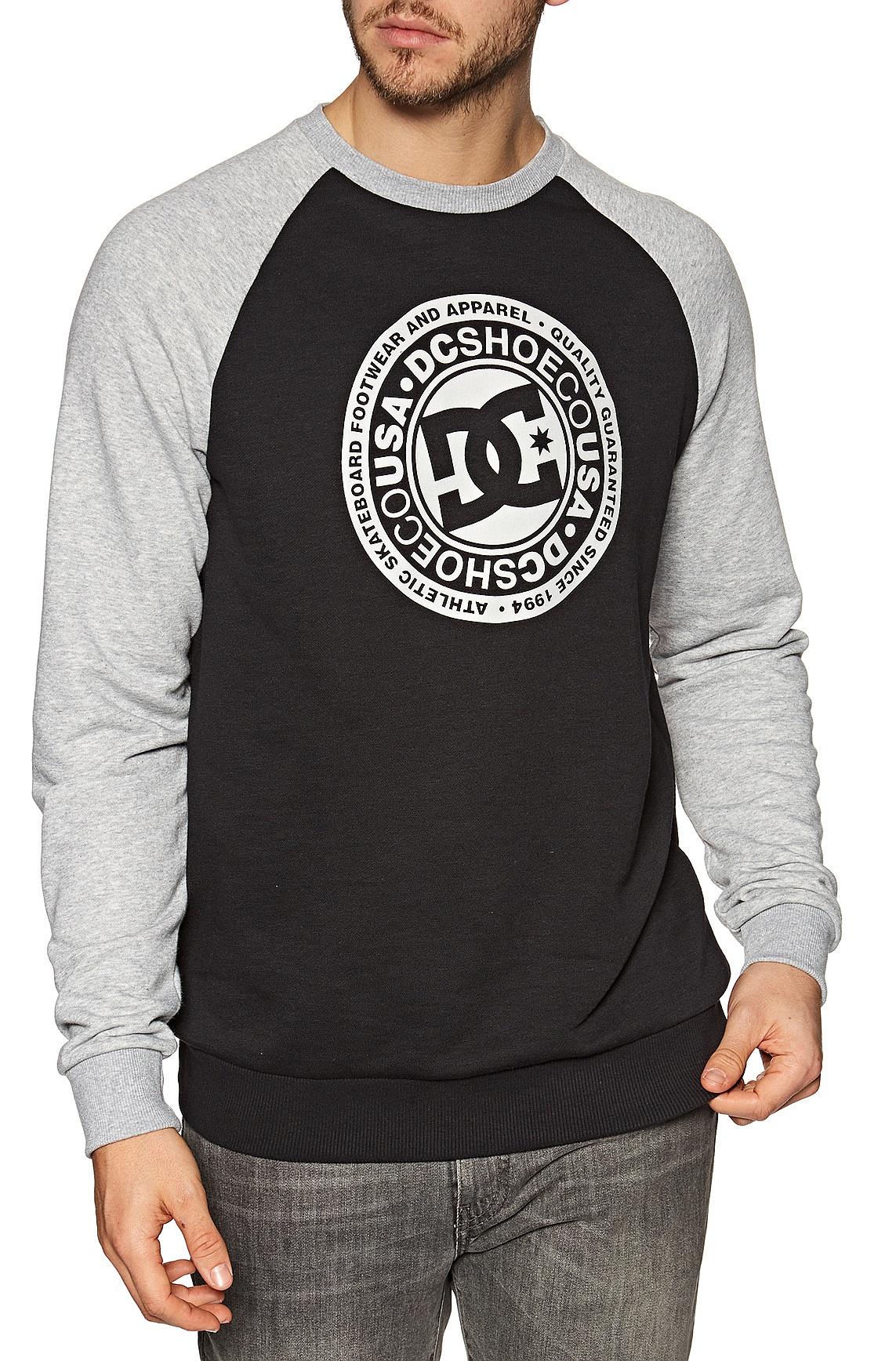 mikina DC Circle Star Crew Raglan - XKKS/Black/Grey Heather L